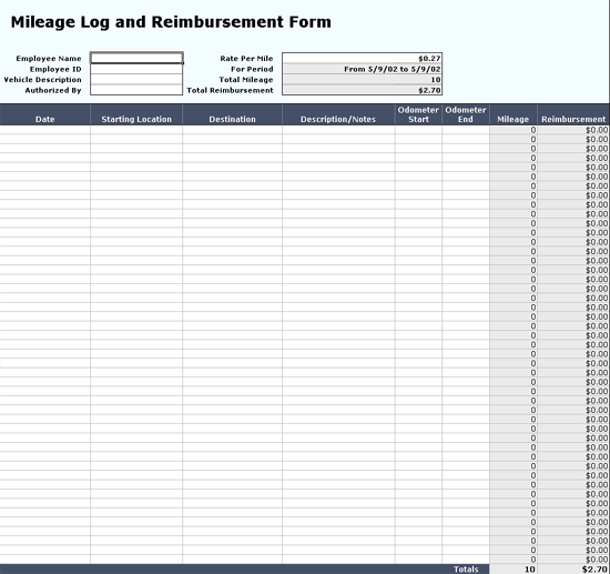 Tracks Mileage Log Data With Reimbursement Form
