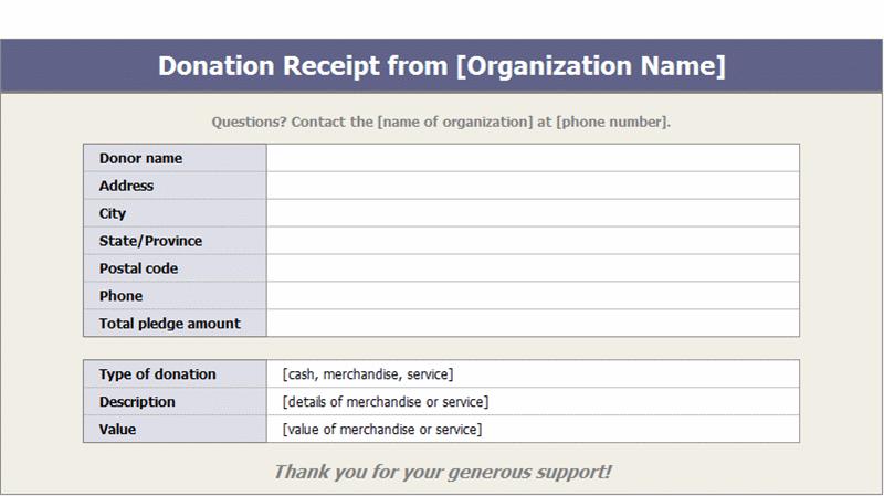 Donation Receipts Templates