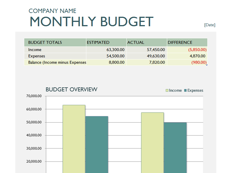 Monthly Business Budget