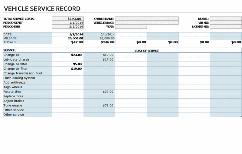 Service Record Template from excelbite.com