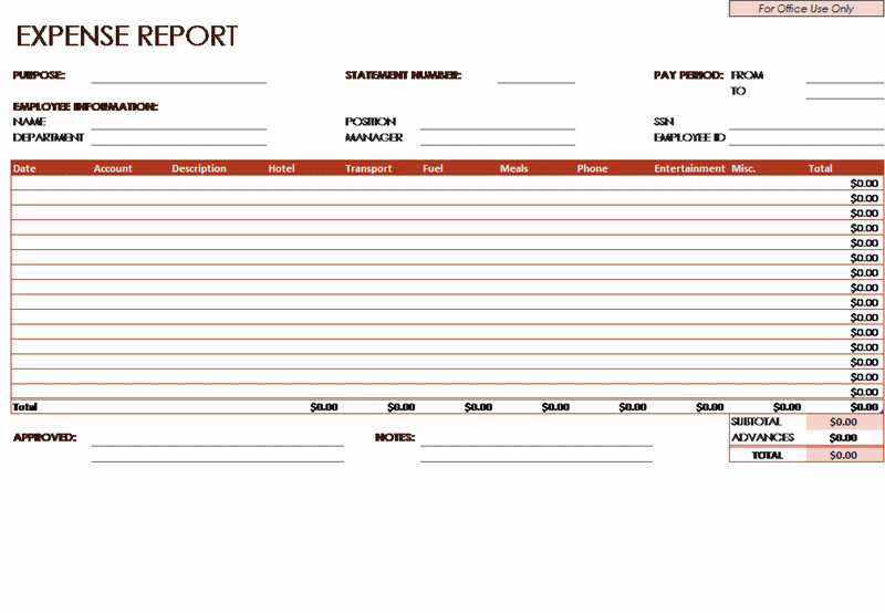 Expense Report Company Employees For Microsoft Excel