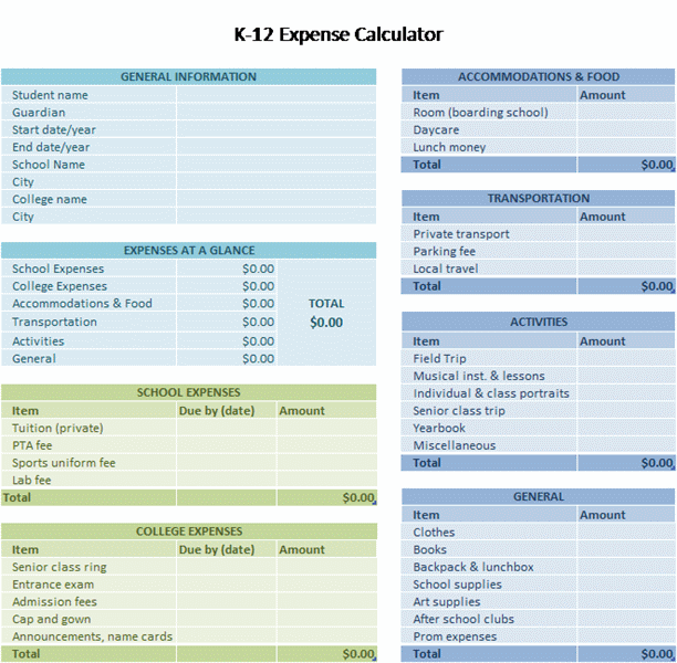 K-12 School Expense Calculator