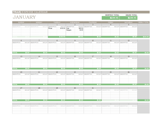 Monthly Expense Calendar : Any year expense calendar for microsoft excel