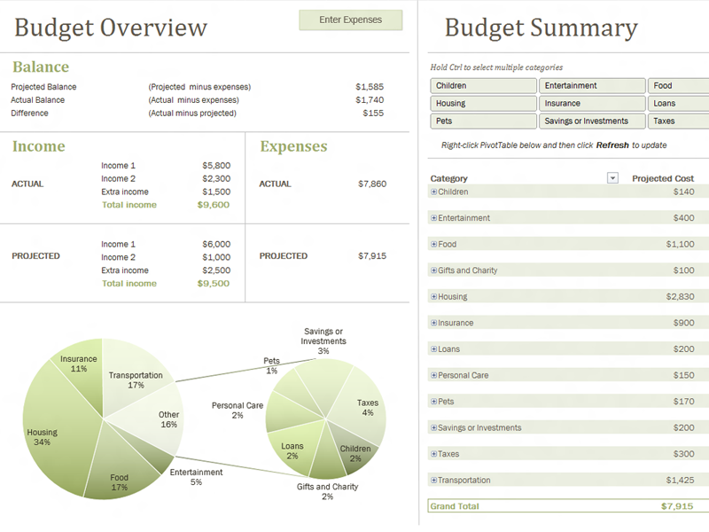 Family Budget With Charts