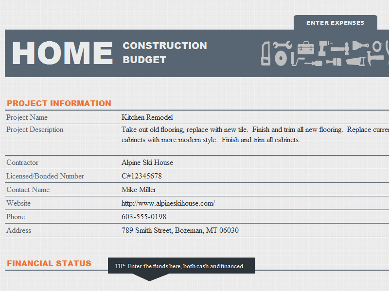 Home Construction Fund And Budget Template