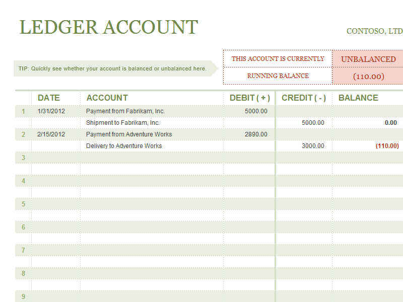T-account ledger for Microsoft Excel