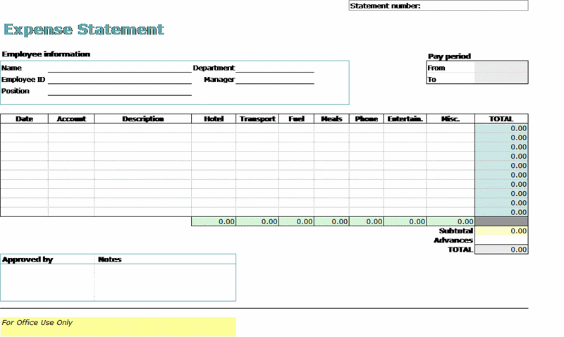 travel expense report for microsoft excel