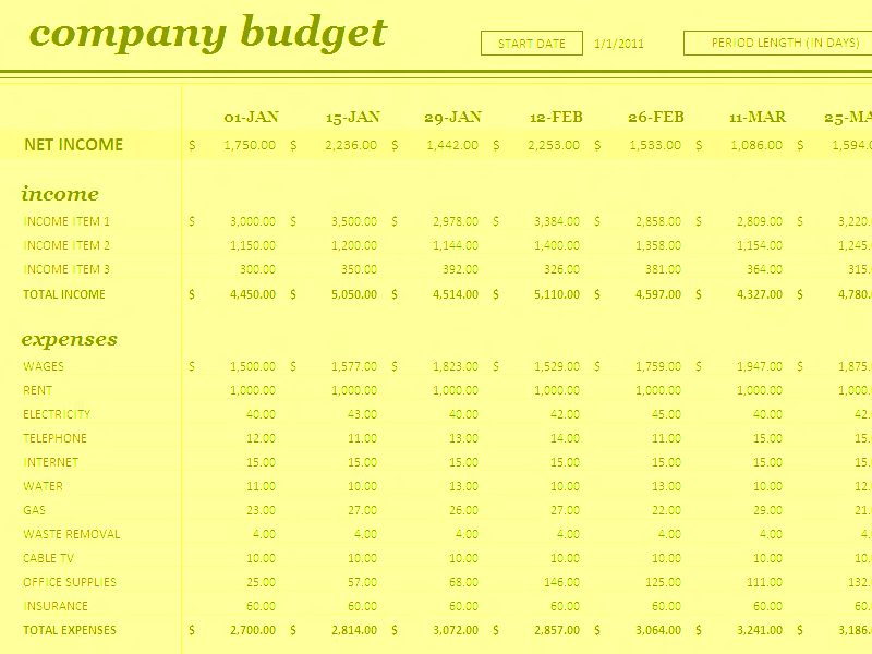 Download Excel-2016 18 Period Budget Templates