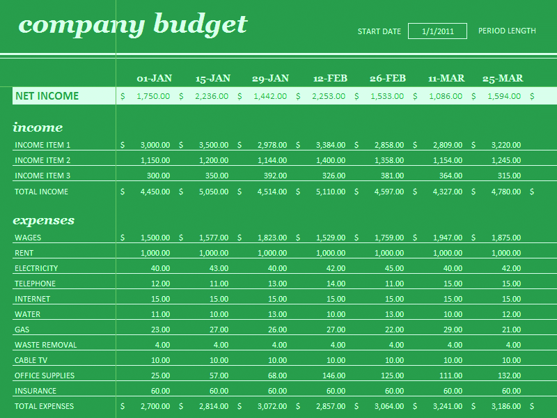 Download Excel-2010 18 Period Budget