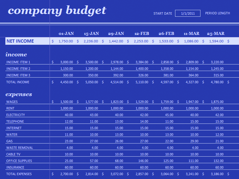 Download Excel-2013 18 Period Budget