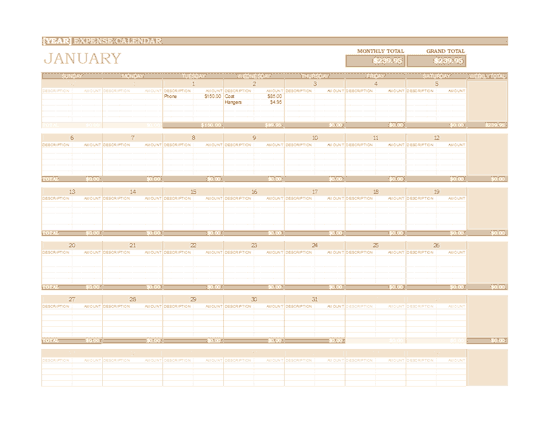 Excel-2007 Any Year Expense Calendar