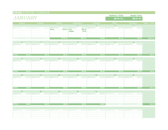 Download Excel-2010 Any Year Expense Calendar