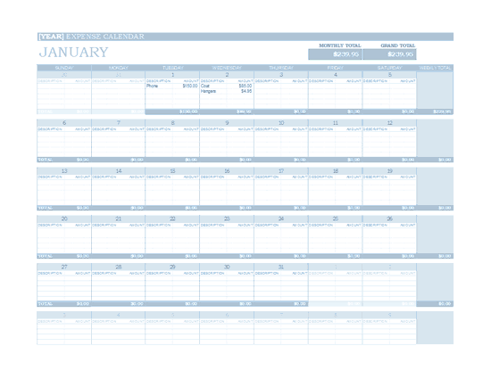 Download Excel-2013 Any Year Expense Calendar