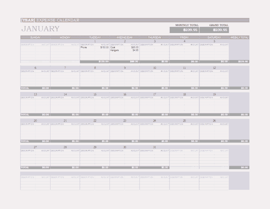 Microsoft Excel Any Year Expense Calendar