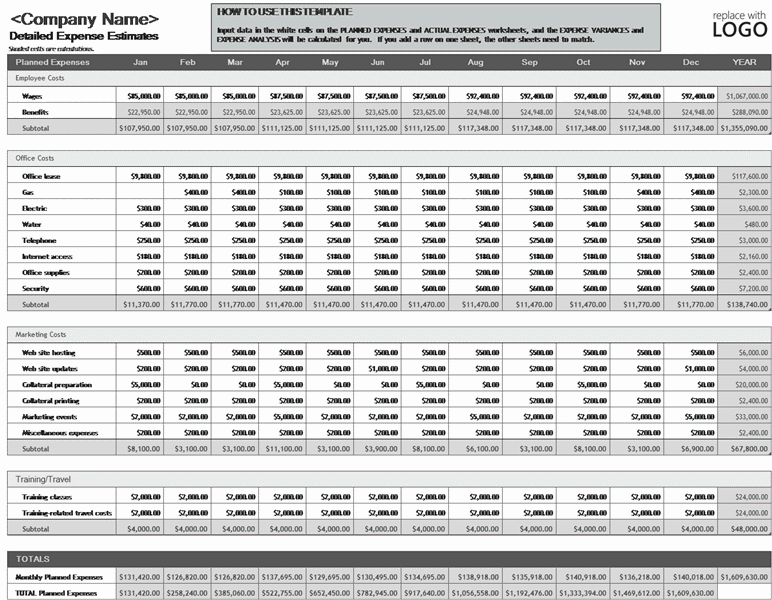 Download Excel-2003 Business Expense Budget