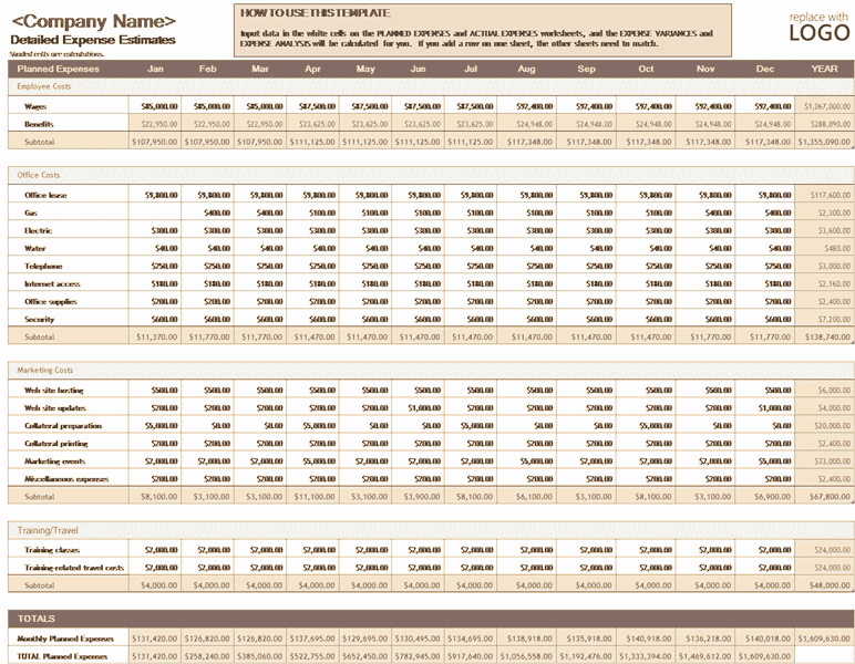 Download Excel-2007 Business Expense Budget