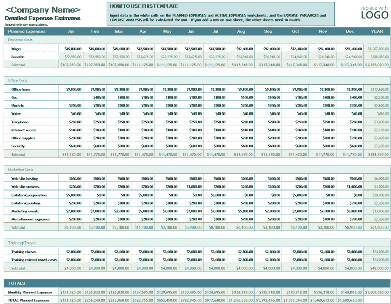 Download Excel-2010 Business Expense Budget