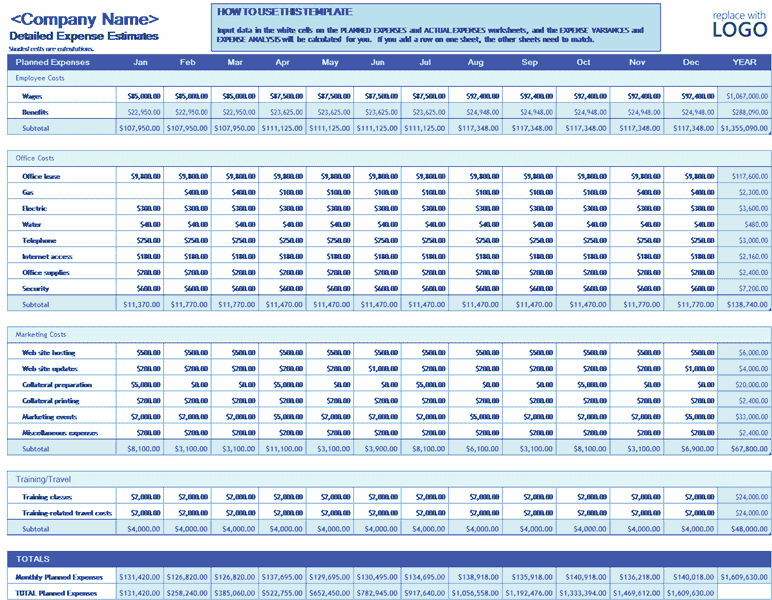 Download Excel-2013 Business Expense Budget