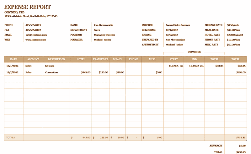 Download Excel-2007 Business Expense Report