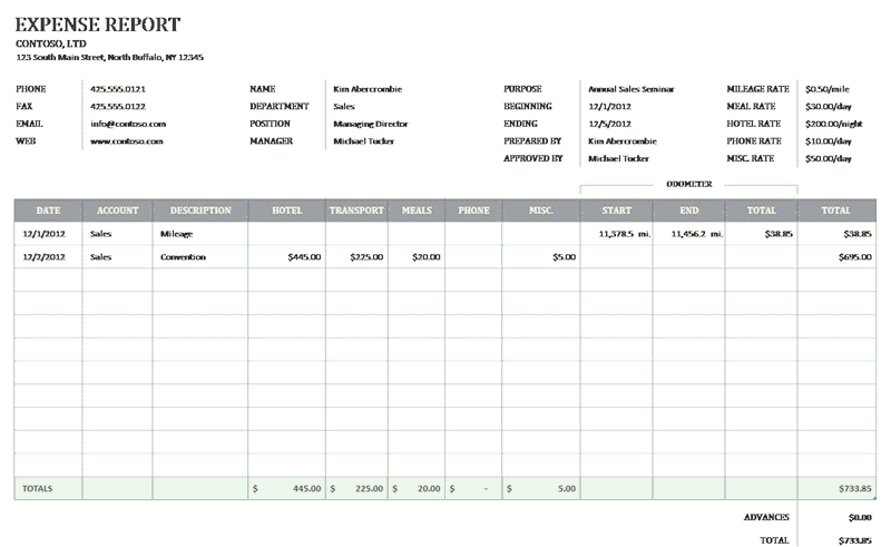 Download Excel-2010 Business Expense Report