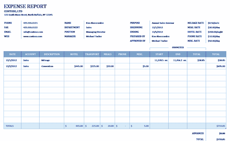 Download Excel-2013 Business Expense Report