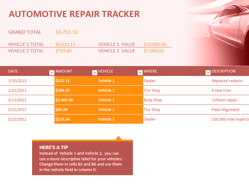 Excel-2007 Car Repair Tracker