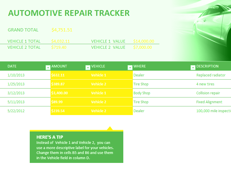 Excel-2010 Car Repair Tracker