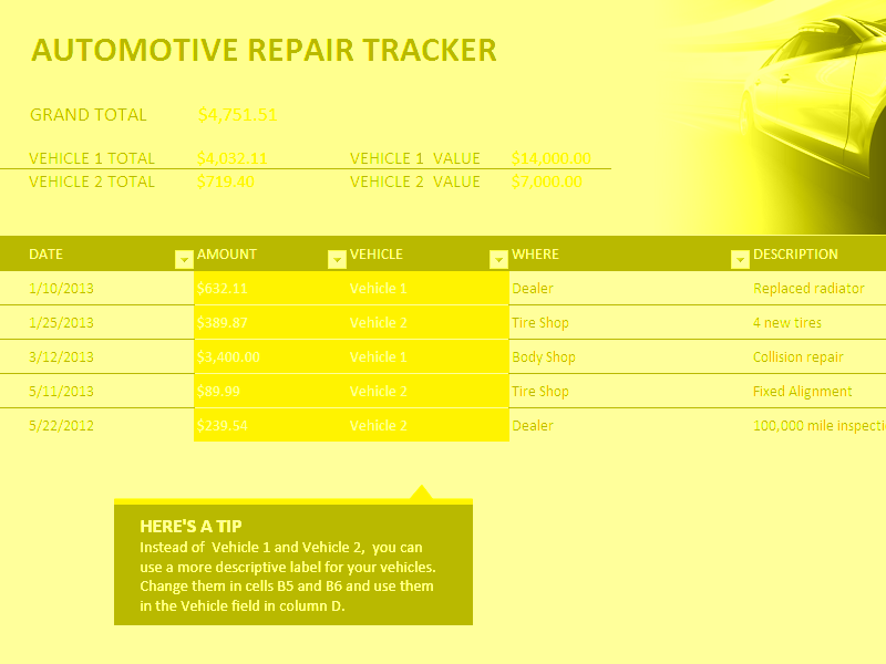 Excel-2016 Car Repair Tracker