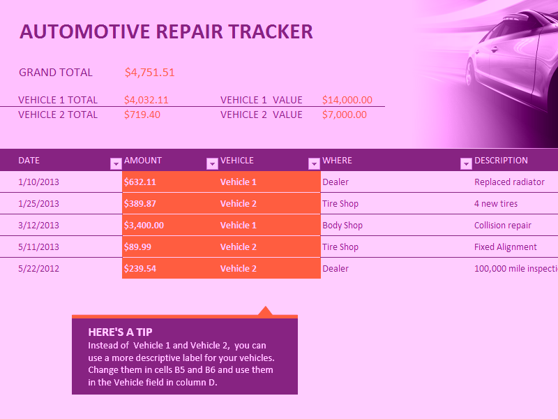 Microsoft Excel Car Repair Tracker