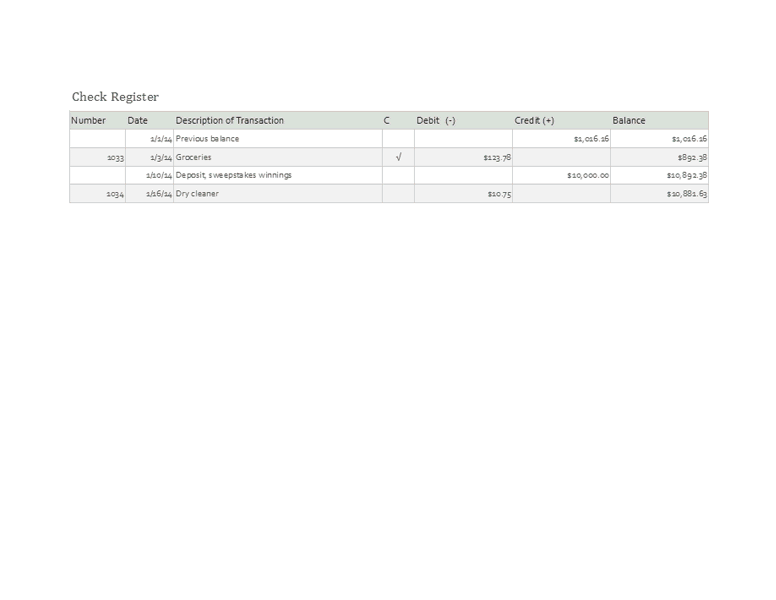 Download Excel-2003 Checkbook Register