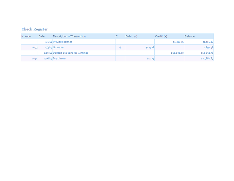Download Excel-2013 Checkbook Register