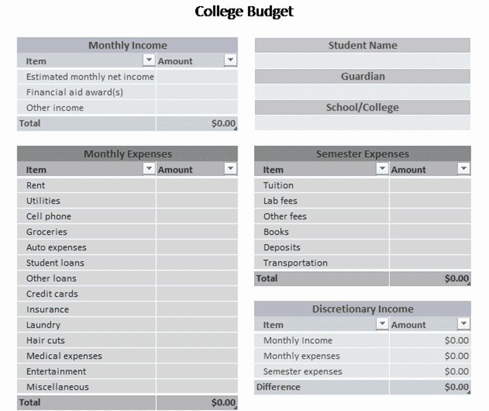 Download Excel-2003 College Budget