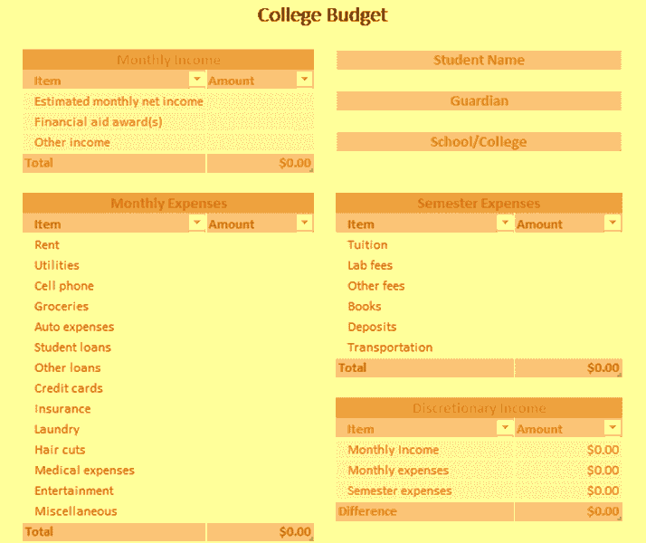 Download Excel-2016 College Budget