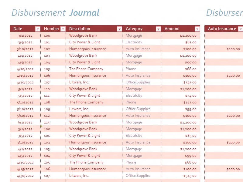 Download Excel-2007 Disbursement Journal