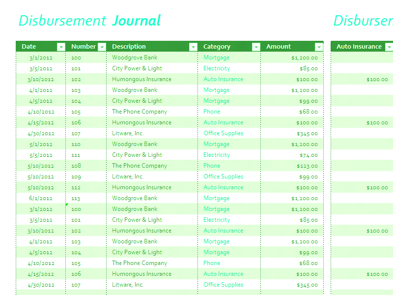 Download Excel-2010 Disbursement Journal