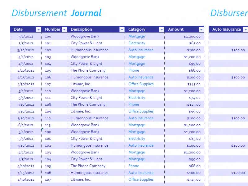 Download Excel-2013 Disbursement Journal
