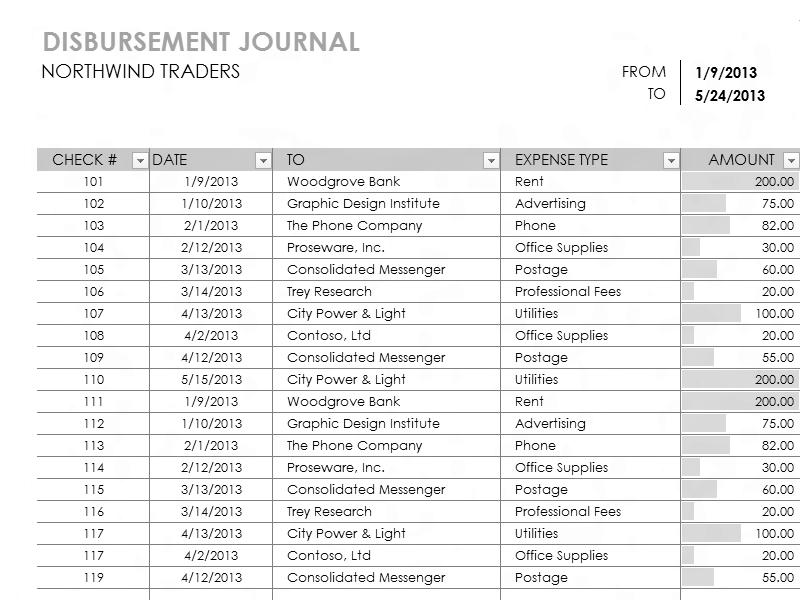 Download Excel-2003 Disbursement Report