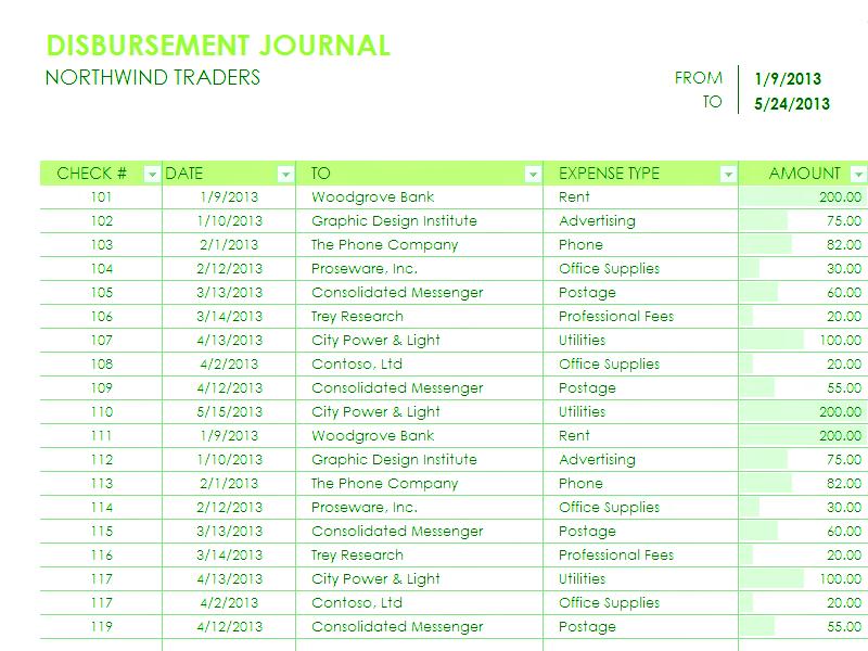 Download Excel-2010 Disbursement Report