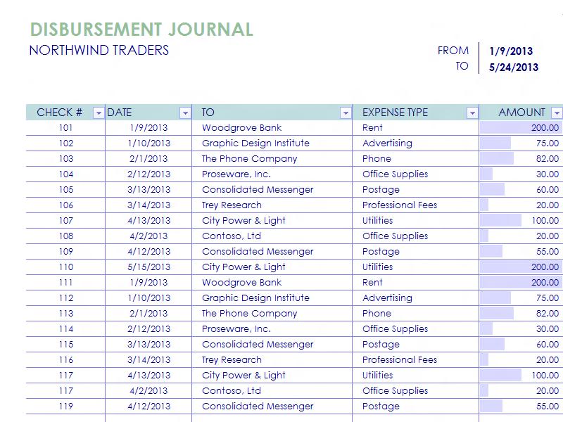 Download Excel-2013 Disbursement Report