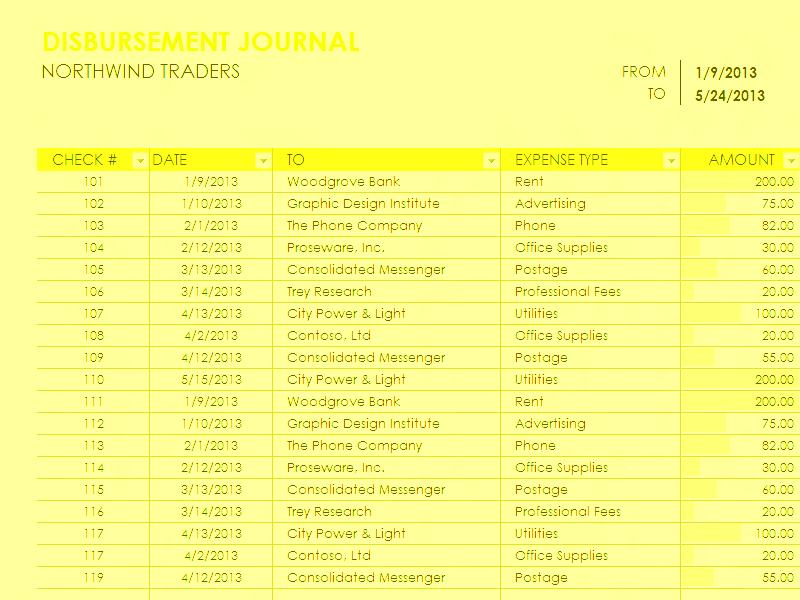 Download Excel-2016 Disbursement Report