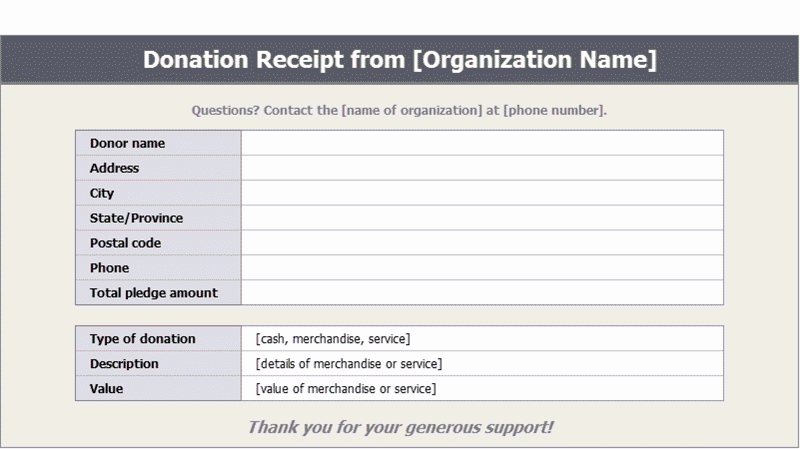 Download Excel-2003 Donation Receipts Templates