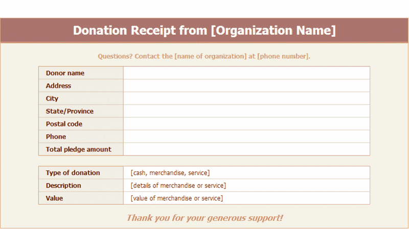 Download Excel-2007 Donation Receipts Templates