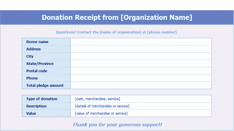Download Excel-2013 Donation Receipts Templates