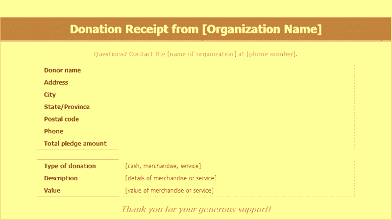 Download Excel-2016 Donation Receipts Templates