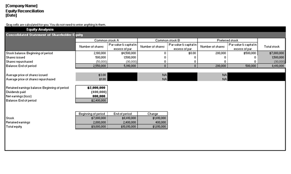 Excel-2003 Equity Reconciliation Report Breakdown Analysis