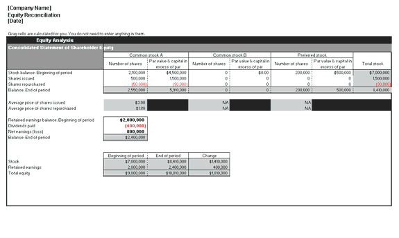 Excel-2010 Equity Reconciliation Report Breakdown Analysis