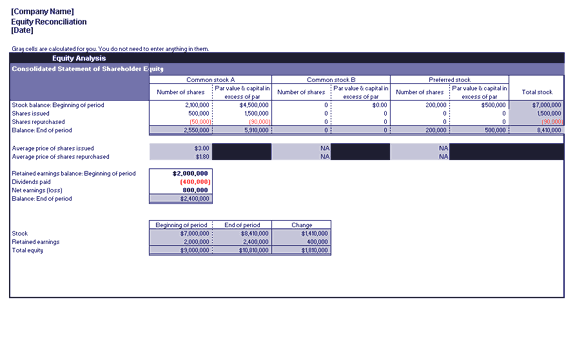 Excel-2013 Equity Reconciliation Report