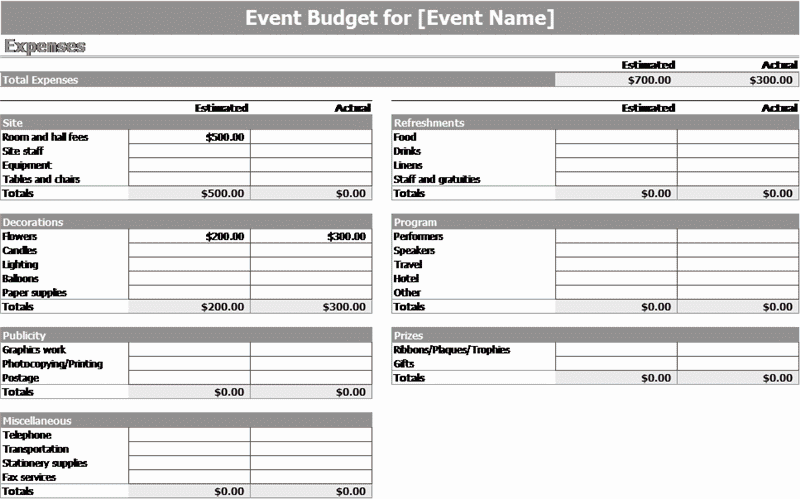 Download Excel-2003 Event Budget