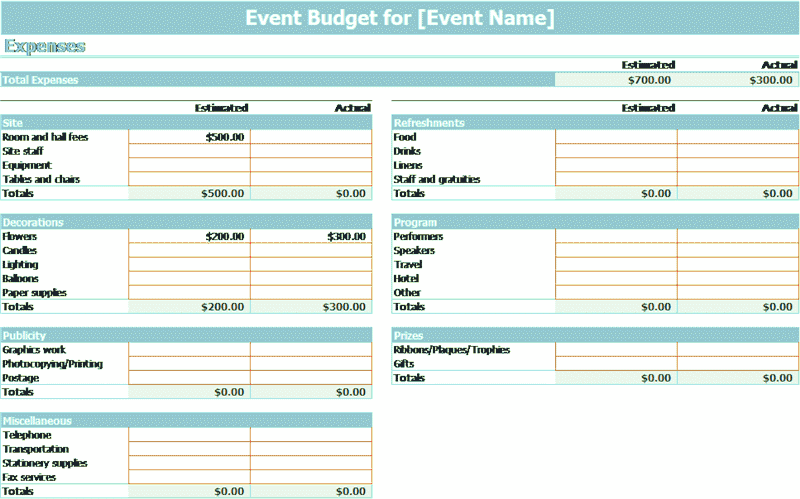 Download Excel-2010 Event Budget