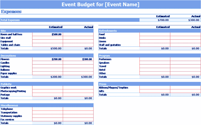 Download Excel-2013 Event Budget